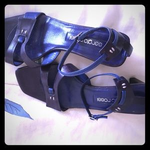 Sergio Rossi blue and plum sandals size 5